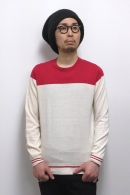 【65%OFF】08sircus バイカラーニット RED×IVORY