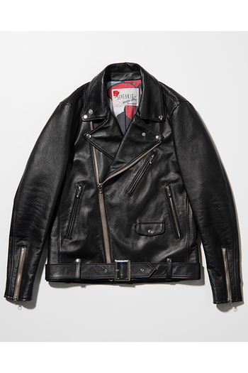 【予約】SEVESKIG 17AW COW HIDE W-RIDERS JACKET BLACK